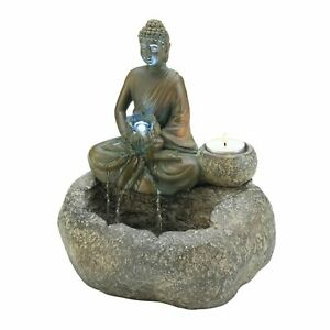 Gray Resin Peacefully Meditating Buddha Tranquil Tabletop Fountain Home Décor