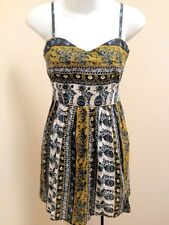 Sace S/M Dress Mustard Brown Blue Tribal Floral Spaghetti Strap Sundress New