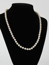 "Faux pearl necklace strand gold tone clasp 18.5"" ladies bridal"