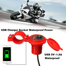 6 Color Motorbike Motorcycle USB Charger Power Adapter Socket Waterproof &Cable