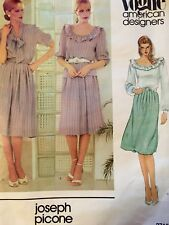 Vogue Sewing Pattern 2715 American Designer Ruffle Blouse Skirt Joseph Picone 10