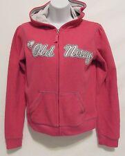 Old Navy Girls SZ 14 XL Pink Fleece Hooded Front Zip Sweater Logo Warm Winter