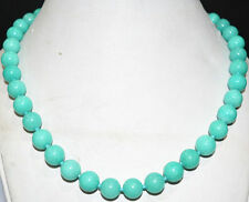 """8mm natural Americas light blue Amazon Sapphire beads Necklace 18 """" AAA"""