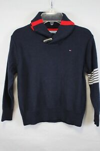 TOMMY HILFIGER Boy's Navy Blue Cotton Toggle Roll Neck Sweater size 6 New