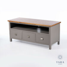COUNTRY FRENCH GREY OAK TV TELEVISION UNIT CABINET WITH DRAWERS (GB698)
