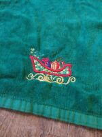 Vintage Linen Green Embroidered Christmas Kitchen Dish Towel SANTA CLAUS SLEIGH