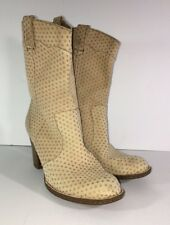 BORN NUBUCK LEATHER PERFORATED LOOK COWBOY WESTERN ANKLE BOOTS WOMEN'S 8