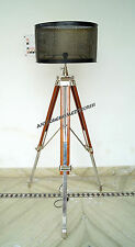 Vintage Tripod Floor Lamp Shade Wooden Christmas Chrome Tripod Stand With Shade.