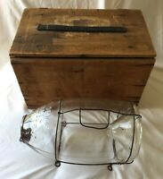 1910 ORVIS GLASS MINNOW TRAP with ORIGINAL LABELED WOODEN BOX - RARE