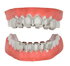 Open Face Custom Fit Grills Silver Tone Top Bottom Hip Hop Teeth Joker Grillz