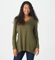 Isaac Mizrahi Live! Essentials Trapeze Hem V-Neck Tunic - Earth Green - Small
