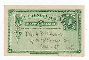 Newfoundland - St Johns 1901 CDS - Locally Sent Stationery Postcard to Water St.