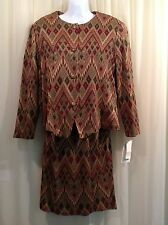 REINA 2 pc DRESS Geometric Knit Jacket Top Skirt SUIT Women's Size 10 P NWT