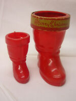 """2 Vintage E Rosen & Rosbro Plastic Candy Container Santa Boots 4"""" & 2 3/4"""" Tall"""