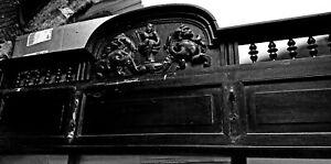 antique walnut ornate wooden wood pediment carved panel Back splash