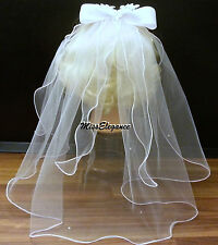 Communion veil White Ivory Bridal Veil 1 Tier veil w Motif Bow & tulle strands.