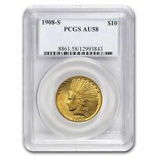 1908-S $10 Indian Gold Eagle Au-58 Pcgs - Sku#154243