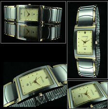 Cavadini Unisex Watch Prestige Jewelry Bicolour Rectangular Stainless Steel Band