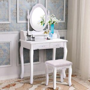 Vanity Makeup Dressing Table Mirror 4 Drawers Wood Writing Desk Set with Stool
