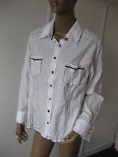 Biba bildschöne Bluse 44 weiß gestreift  langarm