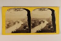 Suisse Unterseen Panorama c1865 Foto W.Inghilterra Stereo Vintage Albumina