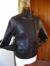Ladies NEXT brown real leather short JACKET COAT UK 12 10 biker flying bomber