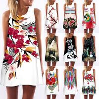 Women Sleeveless Summer Boho Printed Beach Casual Loose Mini Dress Sundress Gift