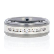 Triton Tungsten Carbide & Silver Diamond Wedding Band Round .25ctw Ring 9 1/4