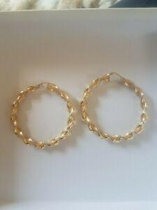 9ct Gold Hoop Earrings twist heavy 8g hallmarked  not scrap
