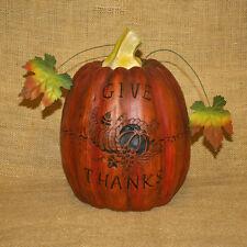 Pumpkin Give Thanks Cornucopia Fall Thanksgiving Decoration Figurine