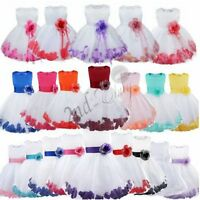 Petals Girl Kid Princess Wedding Party Dress Pageant Flower Bow Tulle Dresses