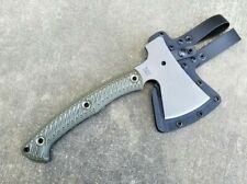 RMJ Tactical Outpost Camp Axe 52100 Steel, Dirty Olive G10 -Authorized Dealer