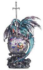 "16"" Blue & Purple Dragon w/LED and Sword Statue Figure Figurine Fantasy Decor"