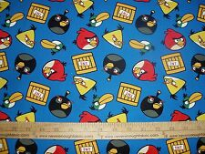 Cotton Fabric Angry Birds by Rovio TNT Dynomite on BLUE game  BTY