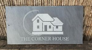 Slate House Sign 40cm x 20cm LARGE Plaque Deep Engraved Personalised & fixings