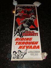 "RIDING THROUGH NEVADA Original Re-Release Movie Poster, 14"" x 36"", C8 Very Fine"