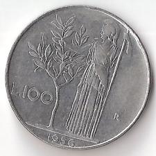 1956 L 100 Lire Italy Italian Lira Coin
