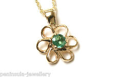 """9ct Gold Emerald Daisy Pendant and 18"""" Chain Made in UK Gift Boxed"""