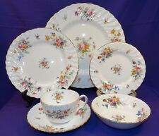 BEAUTIFUL MINTON CHINA MARLOW 6 PIECE PLACE SETTING S-309 MULTI-FLORAL ENGLAND