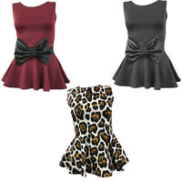 Womens Peplum Top Animal Bow Skater Flared Frill Mini Party Dress Size 8-14