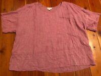 Pure J.Jill Blouse Shirt Pink Linen Short Sleeve Women Size 2X Red Oversized