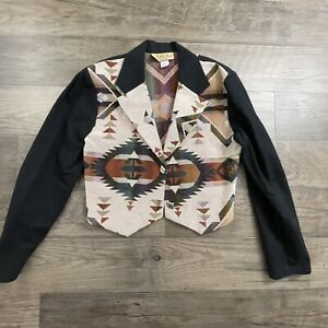 New Frontier Clothing Co. Women's Vest Western Tapestry Med Southwest Aztec