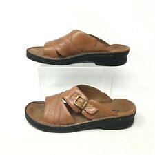 Clarks Slides Sandals Casual Flats Buckle Snakeskin Leather Brown Womens 7 M