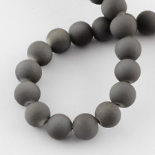 133 Wholesale Beads Bulk Grey 6mm Rubberized Glass Large Lot Gray