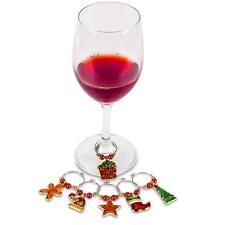 3Springs Christmas Gold Metal Wine Charms Set of 6