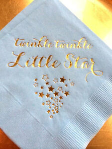 Twinkle Twinkle Little Star Napkins Metallic Gold Foil Light Blue Baby Boy Party
