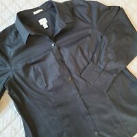 Chico's No-Iron Button Front Long Sleeve Shirt Size 2.5 Large Black Career EUC