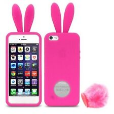 iPhone 5 5G 5S SE Case  PINK RABBIT SILICONE RUBBER GEL STAND Case Cover