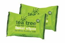 Tea Tree Daily Use Cleansing Facial Face Make Up Wipes (2 x 25 Packs)