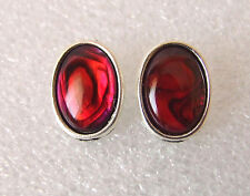 Genuine Red Paua Abalone Shell Oval Cabochon Stud Earrings 16 x 12 mm in Box
